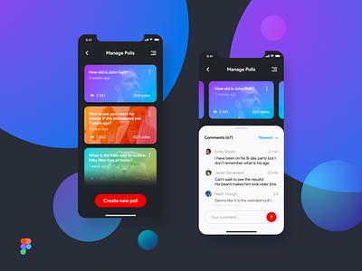 Manage Polls -  Dark Theme UI uiux ui ux mobile ui mobile app design app poll