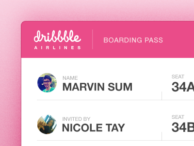 Dribbble Debut debut boarding pass pink