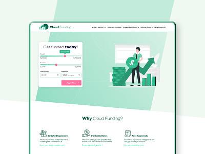 Cloud Funding Landing Page charts funding cloud loan finance homepage landing page green mockup design website user interface ux ui