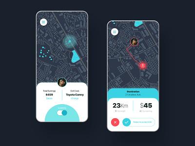 Moovr Ridesharing App mockup design dailyui driver app ux mobile android ios app ui dark sharing ride rideshare uber