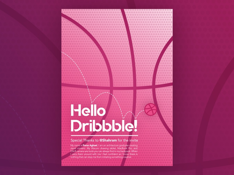 Hello Dribbble Poster gradient modern poster graphic new user new account new thanks welcome dribbble hello