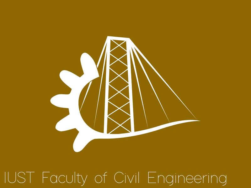 IUST School of Civil Engineering Logo illustation visual  identity logo design branding suspended structure suspended gear bridge modern faculty university civil engineering civil monocolor logo