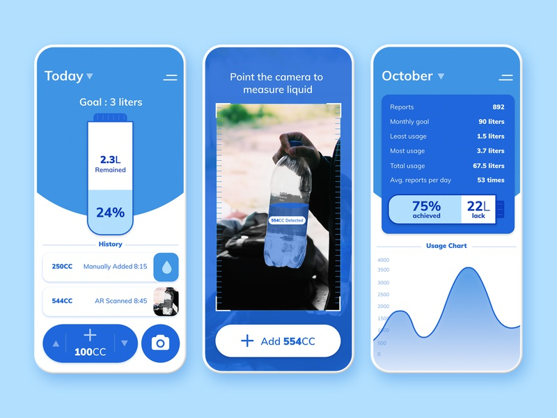 Water Drinking App uplabs dailyui ios mobile app design mobile ui blue mockup drinking drink augmented reality ux uiux ui app water
