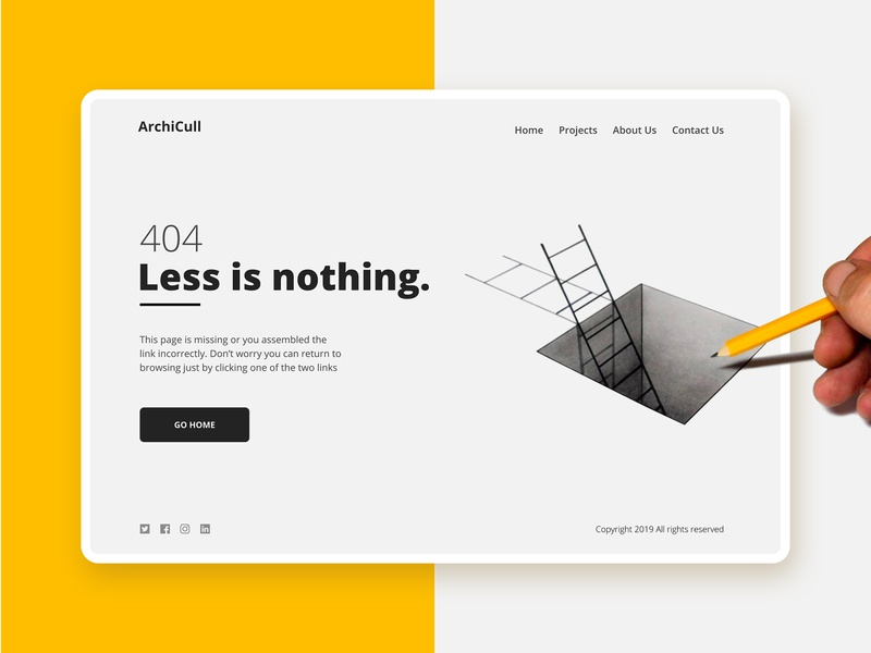 404 dribbble less is nothing ux ui website empty ladder mies van der rohe mimimal minimalism less is more page not found 404 error