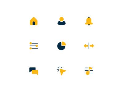 Duotone Icon Pack dark blue yellow dua color icon vector duotone minimal illustration icon