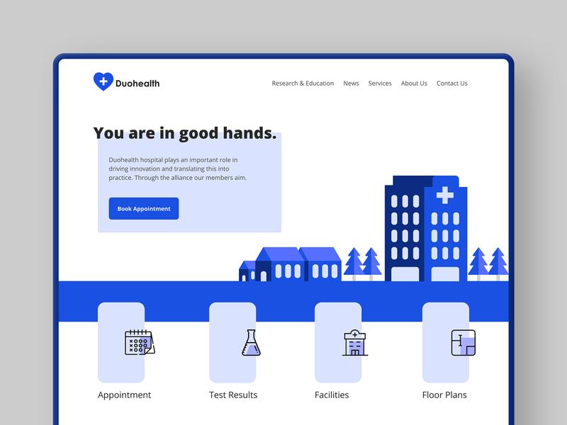 Duohealth Hospital Website product design user interface hospital medicine medical healthcare health dailyui clinic illustration ux ui website