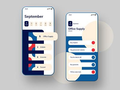 Task Management App (To-do list) uiux dailyui red blue circles calendar task management to-do list mobile user interface design ux ui