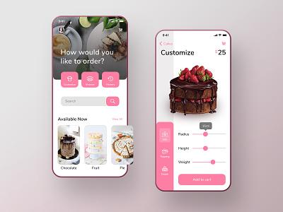 Cake Studio App order food design user inteface studio pink nunito font mobile ios cook cake bakery ux ui app android