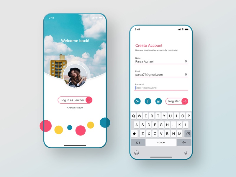 Sign up screen dailyui sign form user interface ux ui app mobile ios create account log in login sign up signup