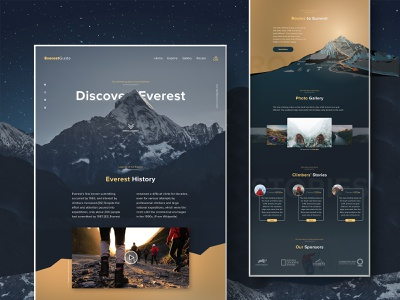 Mount Everest Landing Page Designed peak summit route guide everest national geopgraphic user interface ux ui web design website nature climber climbing mountain