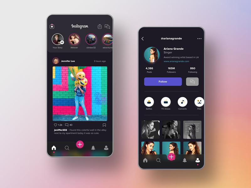 Instagram Dark Mode Redesign ariana grande social media dailyui pink android ios dark mode design user interface app mobile ux ui redesign instagram