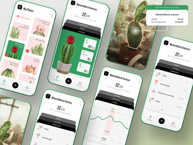 Plant Monitor App augmented reality plant illustration design tree coolvetica open sans phone mockup ui mockup notification history cactus user interface mobile ux ui app monitor plant
