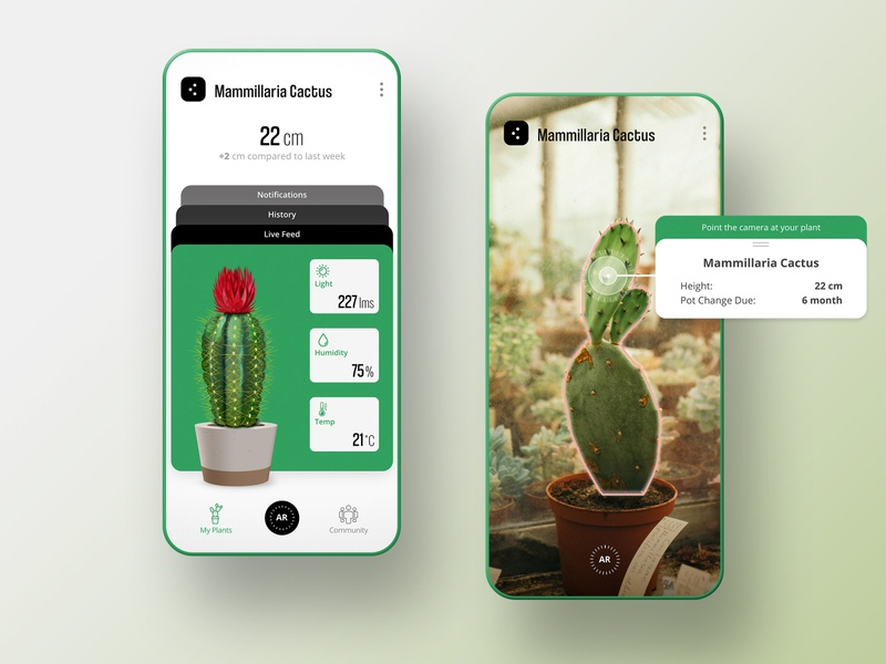 Plant Monitor App green open sans phone mockup ux ui user interface notification monitor mobile coolvetica cactus augmented reality ar app