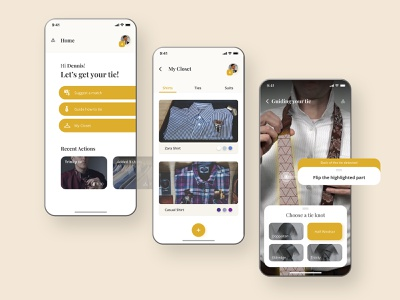 Fashion App augmented reality butler closet classy design yellow open sans playfair display how to tie a tie shirt knot tie mobile ux ui ar app fashion
