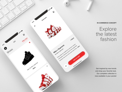 M-commerce App Concept white red and white red apple app ios supreme nike shoes style fashion app fashion typography minimal design ux ui