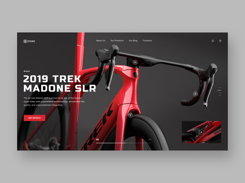 Bike Store - website concept landing red and white red dark bicycles bicycle store shop bicycle shop store bicycle bike logo website 3d web typography minimal ux ui design