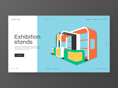 Exhibition s - concept redesign website vector stand exhibition landing website blue illustration typography minimal web design ux ui