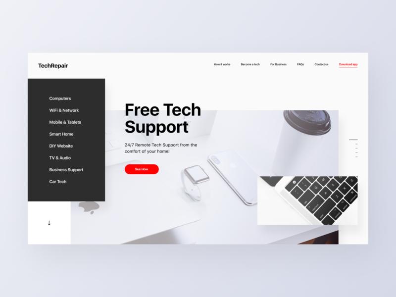 TechRepair - main header repair white landing website web ux typography minimal design ui