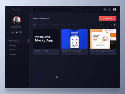 Mocky app - Animate your mockup protopie5.0 application tools ixd aftereffects timeline web app dark theme dark mode dark app dark ui design mockup webapps software ux interaction design ui animation