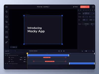 Mocky app - publish project dailyui dark mode mockup timeline web application webdesign software dark ui dark aftereffects ux interaction design interaction concept animation design ui