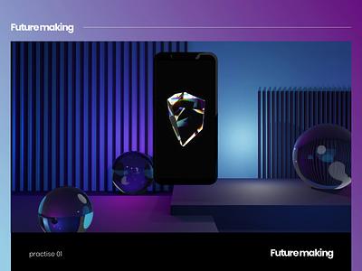 Future making purple dark cool motion graphics design animation art 3d render future ui ux