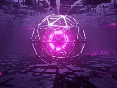 The Orb procedural futuristic cool motion graphics animation model purple 3d cgi vfx blender design