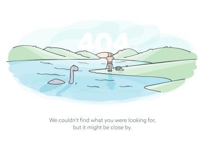 404 Page illustration nessie 404 error loch ness watercolor