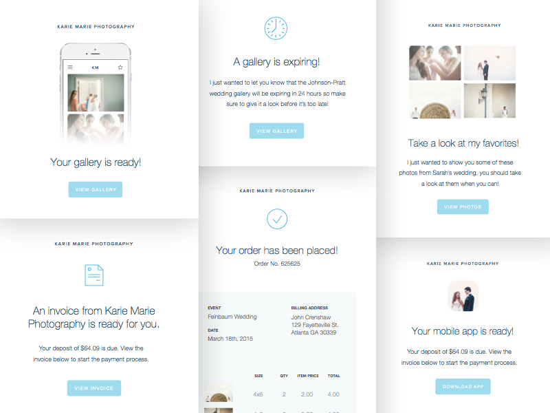 Email Concepts wedding web ux photography email ui icons