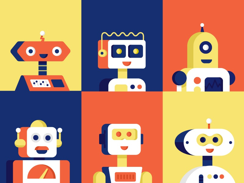 Happy Robots excited smile characters happy robot robots illustration