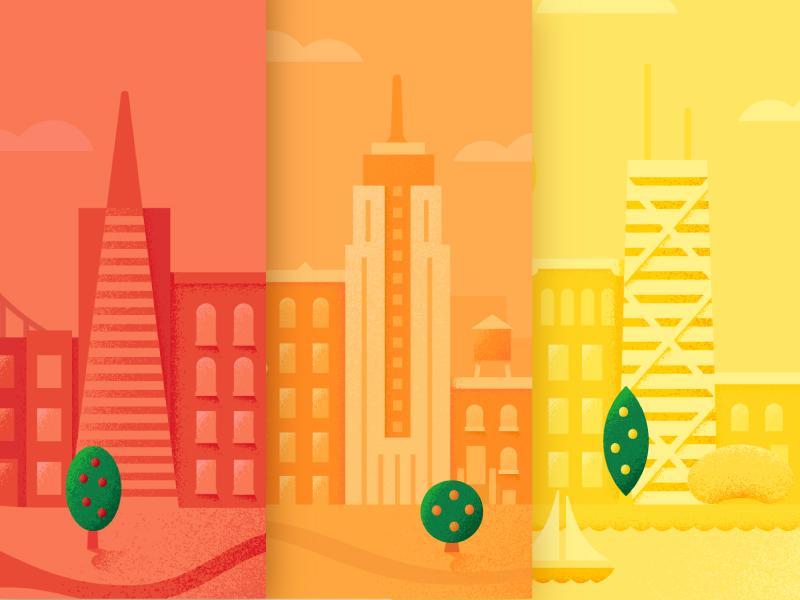 City Illustrations fruit trees illustration cities