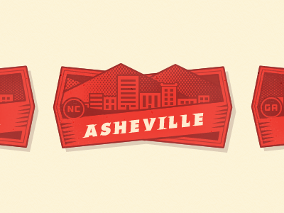 City Badge - Asheville type lettering futura outage losttype beer brewery the stein 352 media group halftone illustration typography badge mountains city