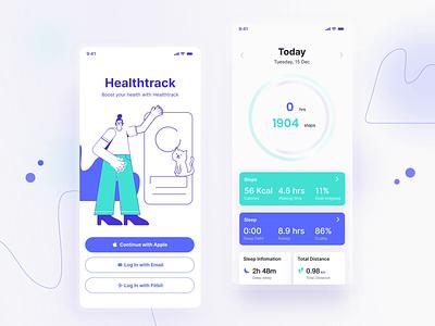 Health Track App animation app minimal typography logo flat branding ux ui design