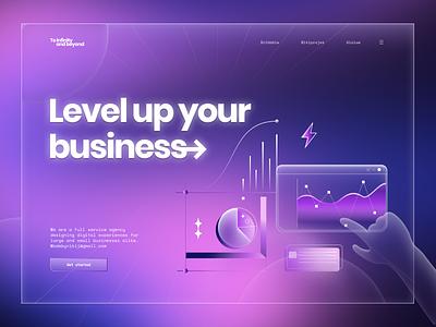 Business landing page animation vector website flat gradient business typography illustration logo clean ux ui branding design