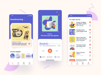 Podcast app cute homescreen purple mobile reading book music player flat motion graphics app podcast branding ux ui logo illustration typography vector design