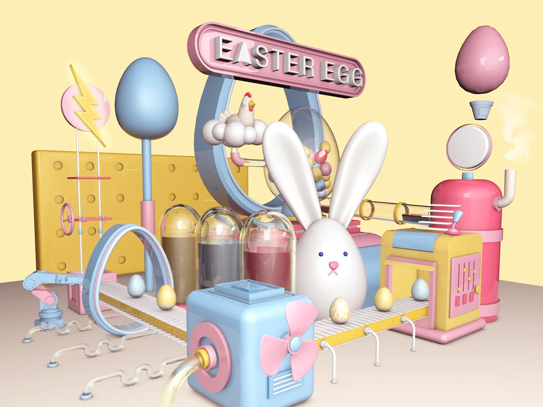 Easter Eggs Factory concept design 3d