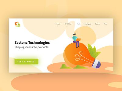 website landing Page minimal flat vector branding design app web website illustration ux ui