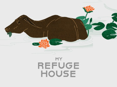 My Refuge House - 3 non-profit ministry philippines packaging label coffee illustration lilypads lily egret buffalo water