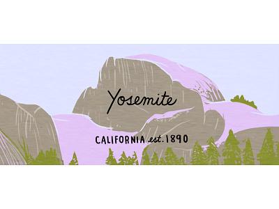 Yosemite california half dome drawing nature illustration national park yosemite