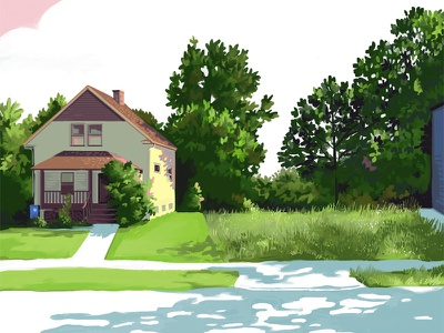Cudell illustration drawing ohio city rustbelt midwest cleveland vacant house neighborhood
