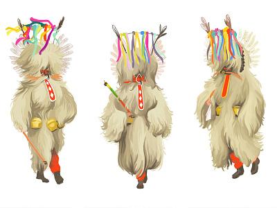 Kurents costume illustration drawing rustbelt midwest ohio cleveland spring festival carnival slovenia spring kurentovanje kurents