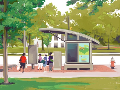 University Circle illustration drawing bus stop bus rustbelt midwest ohio cleveland euclid healthline university circle