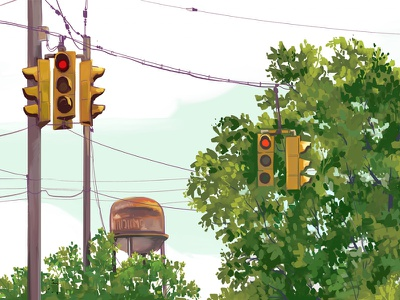 Watertower drawing illustration city rustbelt midwest ohio cleveland traffic light red light watertower