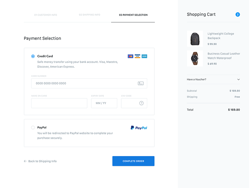 Payment Selection Page