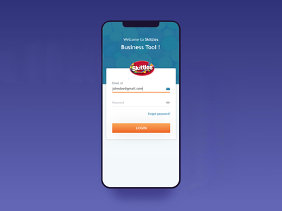 Skittles Business Tool Login Page