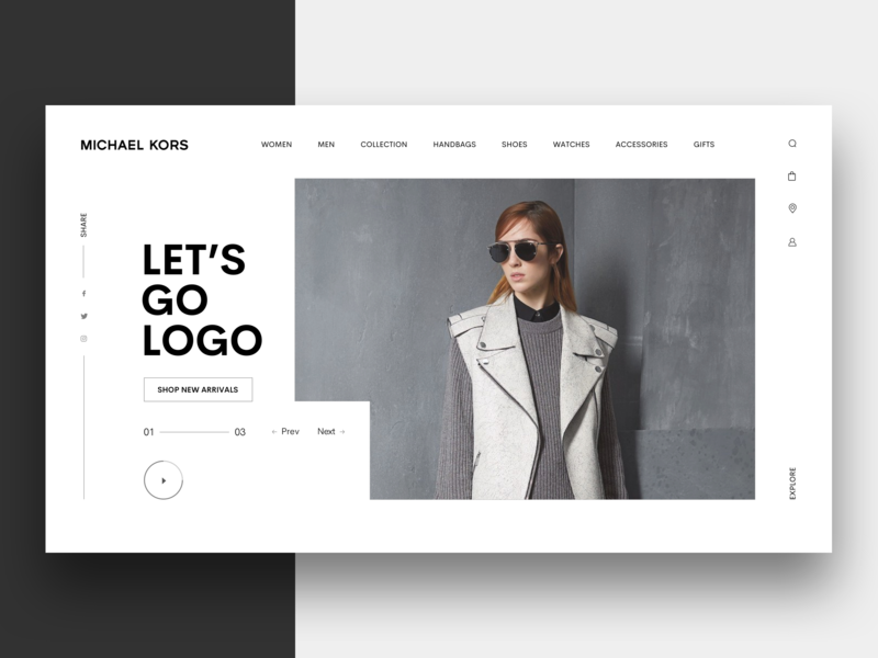 Michael Kors Redesign Concept minimal fashion clean  creative website ux ui typography logo branding design.
