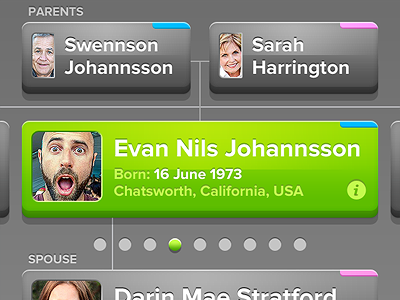 A New Pedigree mobile ui bright 3d ux genealogy family