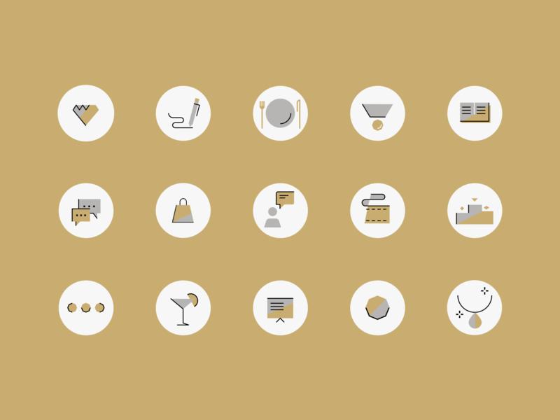 Event icons 1/3 golden events ui vector mobile app colors illustration design uiuxdesign icons icons set