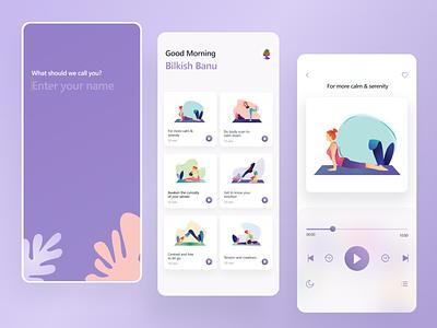 Yoga & Mindfullness app mobile app vector design girl illustration 2d 3d isometric ux illustration character design bright color uxui mentalhealth ui mindfullness yoga