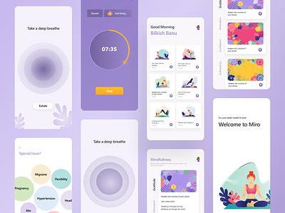 Yoga & Mindfullness app lifestyle ios calm ux ui design ui healthcare productdesign mobile app yoga app minimal design mindfullness yoga
