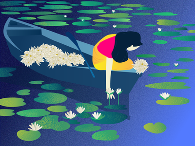 Collecting waterlily 2018 trend vector artwork trends 2019 landing green yellow white bangladeshi natural beauty collect waterlily landscape illustration girl environment design bright color nature illustration new